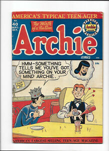 ARCHIE COMICS #40 [1949 VG+] ICE CREAM COVER!