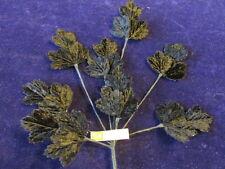 "Vintage Millinery Flower 2"" Leaf Black Velvet Spray for Hat Wedding + Hair IYb"