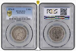 GERMANY HESSE DARMSTADT - RARE SILVER 2 MARK COIN 1876 YEAR KM#355 GRADING PCGS