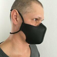 Mundschutz Maske Schutzmaske Gesichtsmaske dickes Leder Schwarz, Handmade