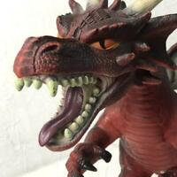 """Toys R Us Maidenhead Large Red Winged Dragon Rubber Action Figure Toy 26"""" long"""