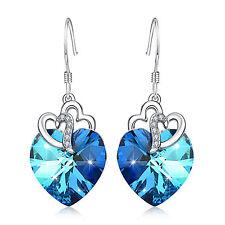 925 Sterling Silver Austrian Elemental Crystal Heart Drop Earrings Eternal Love