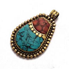 Coral Turquoise Brass Pendant Tibetan Nepalese Handmade Tibet Nepal UP1055