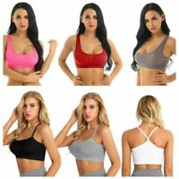 Women's Ultra Thin Sheer Racerback Crop Top Sports Bra Stretch Workout Tank Top