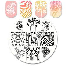 Born Pretty Round Nail Art Stamping Template Windmills Feather Theme Image Plate