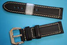 Cuir de Russie Bracelet Montre Compatible Panerai Brun Foncé 22mm Vissé Boucle