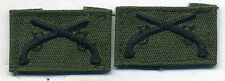 US Army VIETNAM ERA PAIR SEW ON Military POLICE COLLAR INSIGNIA ON OD TWILL