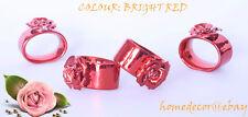 Roses  Metal Serviette / Napkin Ring- Dinner-Tableware x 4 in Box-Various Colour