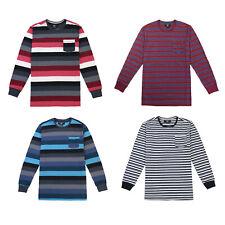 Men's Striped Crew Neck Long sleeve Pocket T-shirt S M L XL