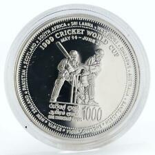 Sri Lanka 1000 rupees Cricket World Cup Two Players Silver Proof Coin 1999