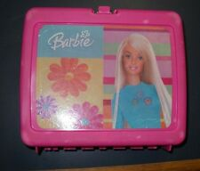 VINTAGE PINK THERMOS BARBIE FLOWERS PLASTIC LUNCH BOX WITH NO THERMOS BOTTLE