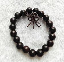 10mm D Unisex Round Ebony Wood Beaded Chinese Knot Closure Bracelet