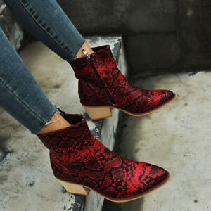 Womens Ankle Boots Snake Print Block Mid Heel Booties Pointed Toe Party Shoes