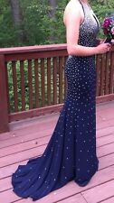 Jovani 90460 Navy Blue Prom Pageant formal Dress with keyhole SIZE 0