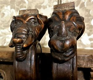 2 Wild animal wood carving corbel bracket Antique french architectural salvage