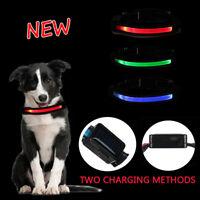 Solar LED Adjuatable Dog Cat Pet Luminous Collar Night Light Safety Necklace Kit