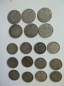Lot of 18 1863 - 1920 CANADA SILVER 10 & 5 CENTS (#95)