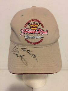 Forever Red Budweiser Kenny Bernstein Autographed Racing Signature Cap Hat