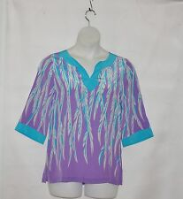 Bob Mackie 100% Silk Feather Print Tunic Size S Purple/Turquoise