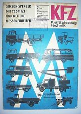 DDR Zeitschrift KFZ Kraftfahrzeugtechnik 3 / 1966 Simson - Sperber Ifa Messe !