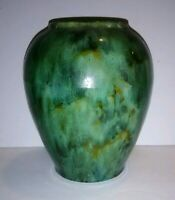 Vintage McCoy Pottery Brush Green Onyx Vase 050 Drip Glazed