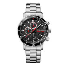 Wenger Men's Watch Roadster Chronograph Black Dial Steel Bracelet 01.1843.106