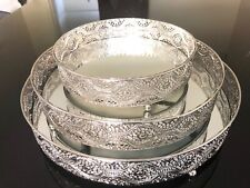 Mirror Tray Round Shape Serving Dressing Glass Metal Decorative Silver 20cm x5cm