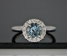 $1,995 14K White Gold 1.28ct Round Aquamarine Round Diamond Engagement Ring Band