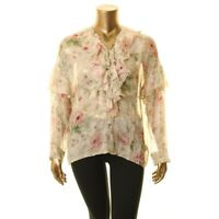POLO RALPH LAUREN Women's Silk Floral-print Ruffled Blouse Shirt Top TEDO