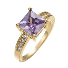 Cocktail Amethyst Yellow Gold Filled Fashion Rings