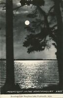 PRUDENVILLE MI – Houghton Lake Moonlight In the Northwoods Real Photo Postcard
