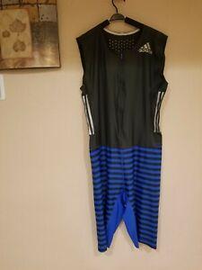 Adidas Adizero  Sprint Suit Black/Blue Sleeveless Running Track Race Suit Sz L