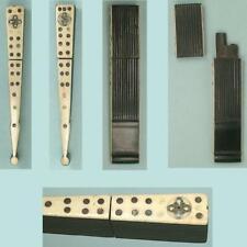 Antique Figural Ebony & Bone Fan Needle Case * English * Circa 1800