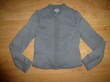 Women's Noa Noa Stretch Grey Stripe Mandarin Neck Popper Up Jacket Top XS UK 6