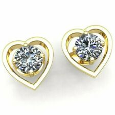 Genuine 0.2ctw Round Cut Diamond Ladies Halo Heart Stud Earrings 14K Gold