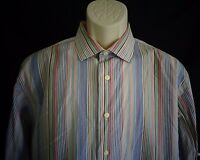 Tallia Blue green red orange stripe long sleeve shirt mens L  16 1/2