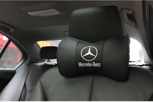 2Pc Black Real Leather Car Seat Neck Pillow Car Headrest Pillow Fit For Benz Car