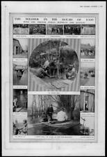 1916 Antique Print -  FRANCE Poilus Trench Shower-Bath Hell's Corner Boxing(168)