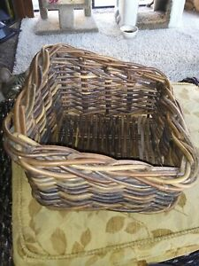"""Large 11x 11x 6"""" SQUARE Natural TWIG WICKER BASKET"""