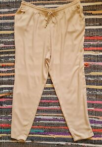 LADIES BEIGE SUMMER PULL ON TROUSERS SIZE 16