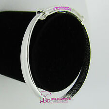 Real Women Girl Solid White Gold GP Fine Silver Round Plain Bangle Bracelet Band