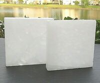 "2 PC Selenite ""Charging"" Plate Flat Natural Crystal Display Reiki Polished"