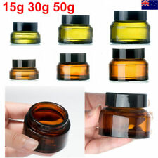 10PCS Amber Green Glass Cosmetic Jars Face Cream Lip Balm Sample Containers Pots