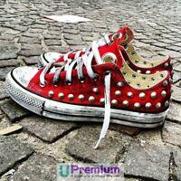 Converse All Star Rosso Fuoco [Prodotto Personalizzato] Scarpe Borchiate ORIGINA