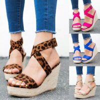 Women Espadrille Wedge Heel Sandal Cross Ankle Strap Platform Open Toe Shoe Size