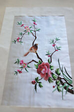 """Silk Embroidered Floral & Bird Finished Ready to Frame Stunning 14"""" x 10"""""""
