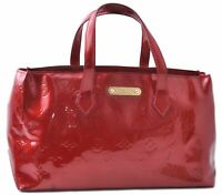 Authentic Louis Vuitton Vernis Wilshire PM Hand Bag Red LV B7953