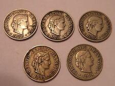 SWITZERLAND 5 COIN LOT 10 RAPPENS 1880, 1881, 1882, 1883 & 1915