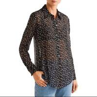 Theory Black Stars Sunaya Silk Button Down Long Sleeves Shirt Size Medium