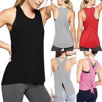 US Women Sports Running Fitness Exercise Jogging Gym Yoga Vest Tank Top Singlet